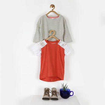 Set of Two Tees - Orange with Lace Sleeves & White Stripes