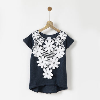 Navy & White Lace Front Tee