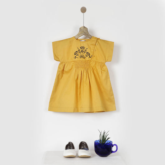 Yellow Embroidered Smock Dress