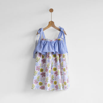 Layered Floral Printemps Umbrella Dress
