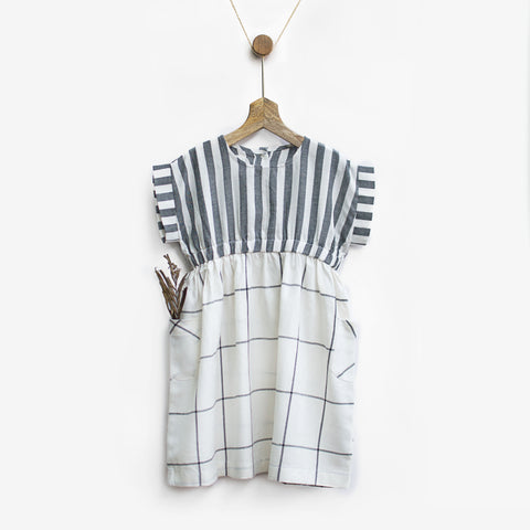 Black & White Checks Smock Dress with Pockets