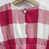 Red & White Gingham Smock Dress with Pockets