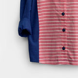 Navy & Red Striped Mandarin Shirt