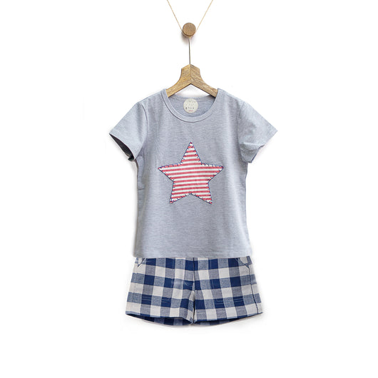 Grey Starry Tee & Blue Gingham Shorts Set