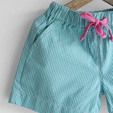 Pink Tee & Green Shorts Set with Cat Brooch