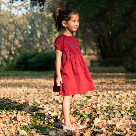 Maroon Embroidered Smock Dress