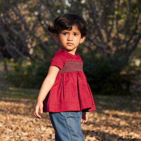 Maroon Smocked Cotton Satin Top