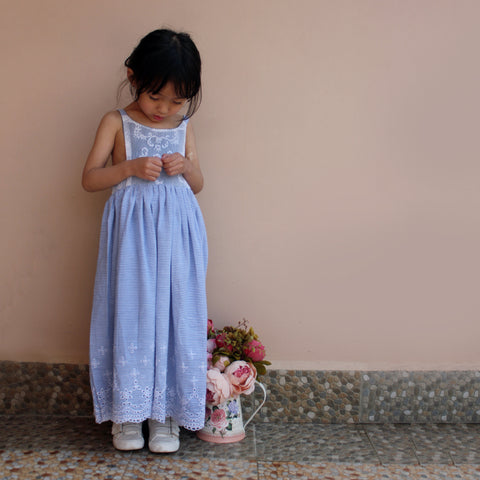 Snowdrop Lace Maxi Dress, Side Smocked