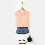 Orange & White Striped Peter Pan Collar Shirt