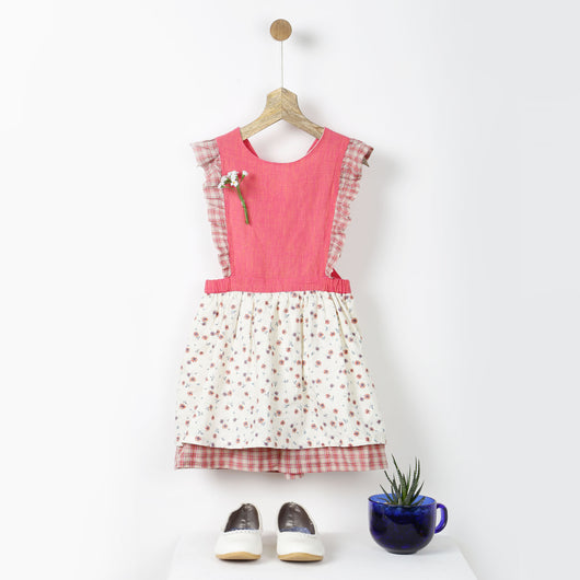 Pink Checks & Floral Pinafore Dress
