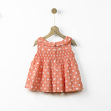 Peter Pan Coral Polka Smock Top