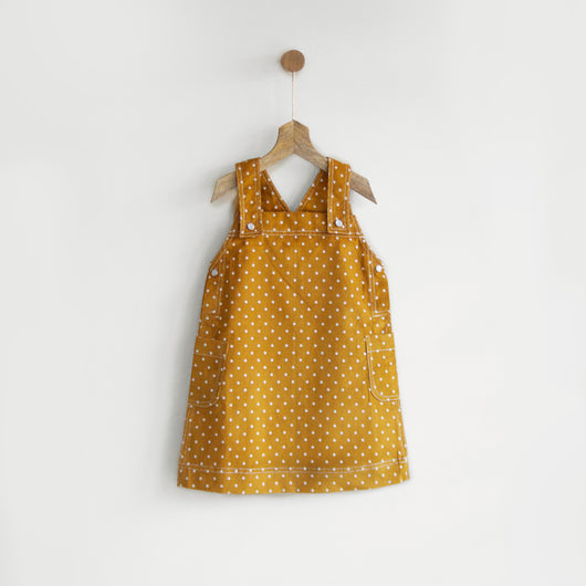 Mustard Polka Pinafore Dress in Corduroy