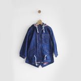 Handwork Patched Denim Jacket With Hood