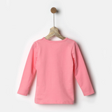 Pink Full Sleeves Tee with Lace Detail