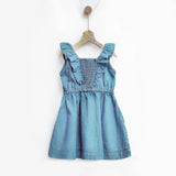 Ice Wash Denim Pinafore with Ruffles & Smocked Back