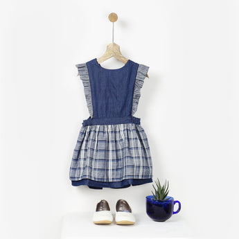 Indigo Blue Checks Pinafore Dress