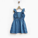 Mid Wash Denim Pinafore with Ruffles & Smocked Back