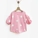 Pink & White Polka Tee with Bubble Sleeves