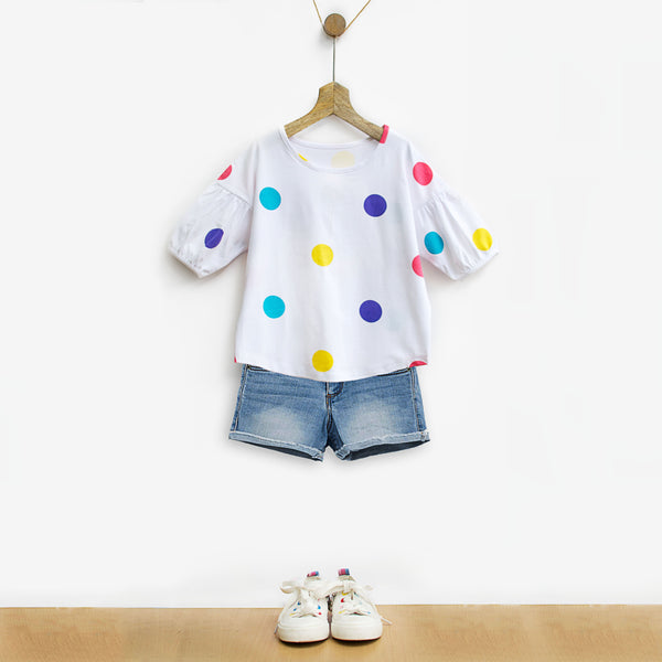 Rainbow Polka Tee with Bubble Sleeves