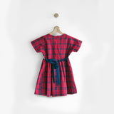 Red Checks Dress with Pretty Smocking & Back Tie