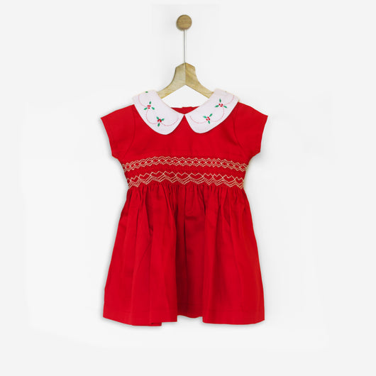 Vintage Embroidered Collared Dress with Smocking