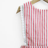 Red & White Stripes Pinafore Dress with Lace Hem & Back Bow