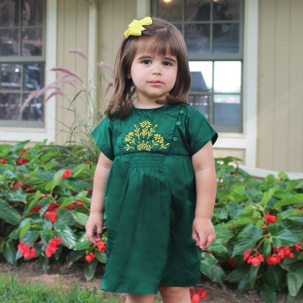 Green Embroidered Smock Dress