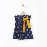 Navy Printed Tunic with Yellow Bow