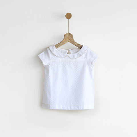 White Peter Pan Collar Shirt with Back Tie