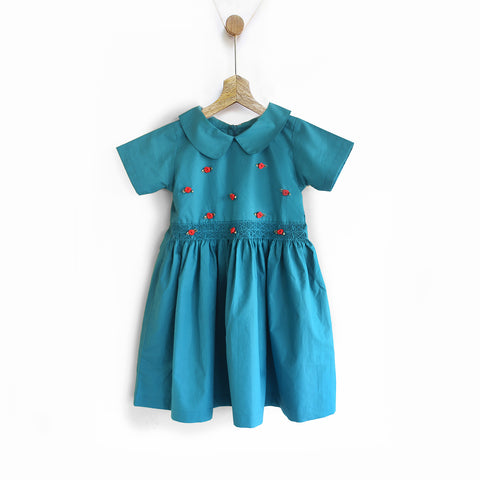 Hand Smocked Green Holiday Dress