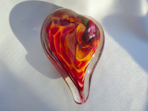 Art glass heart, red and orange