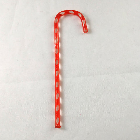 Handmade Art Glass Candy Cane, Orange-Red, 3.5""
