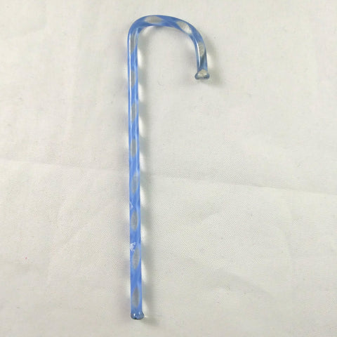 Handmade Art Glass Candy Cane, Blue, 3.5""