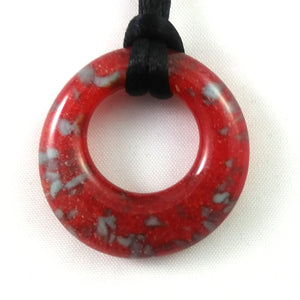Handmade Glass Hoop Pendant, Red and Blue, Christmas Gift
