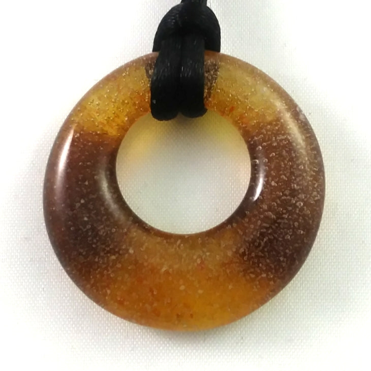 Handmade Glass Hoop Pendant, Mixed Amber, Design by