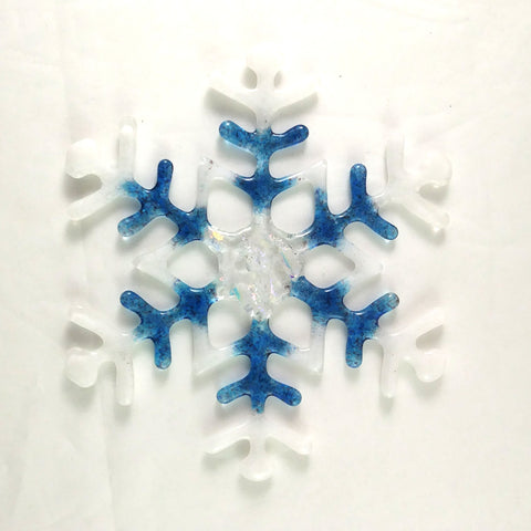 Handmade Blue, Purple, White, Dichroic Snowflake Suncatcher, Large