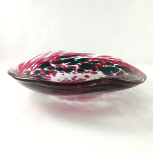 Handmade Art Glass Bowl, Freeform, Red and Green, Christmas Gift