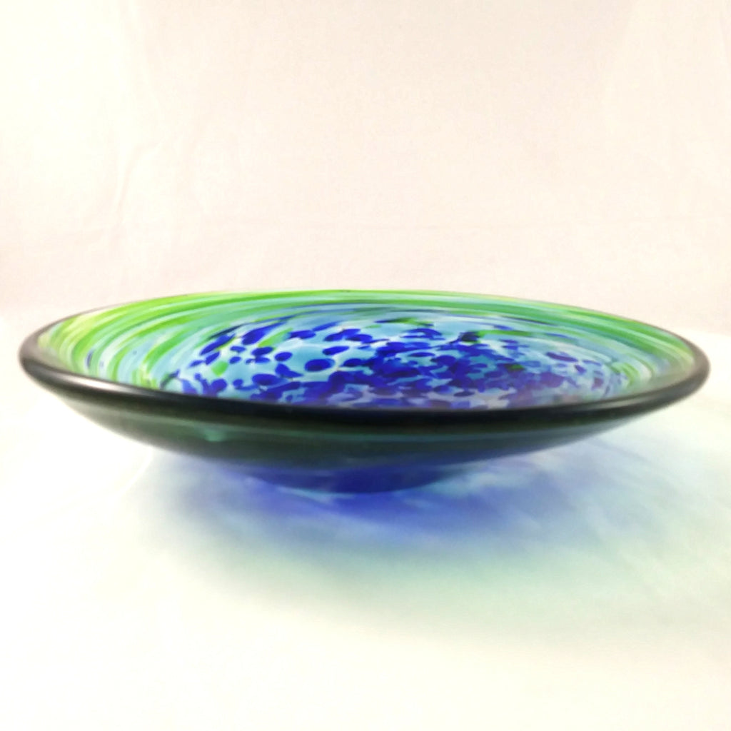Handmade Art Glass Bowl, Blue, Green and Pure Gold, Round