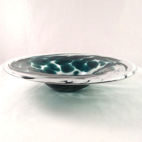 Handmade Art Glass Bowl, Green and White, Christmas Gift