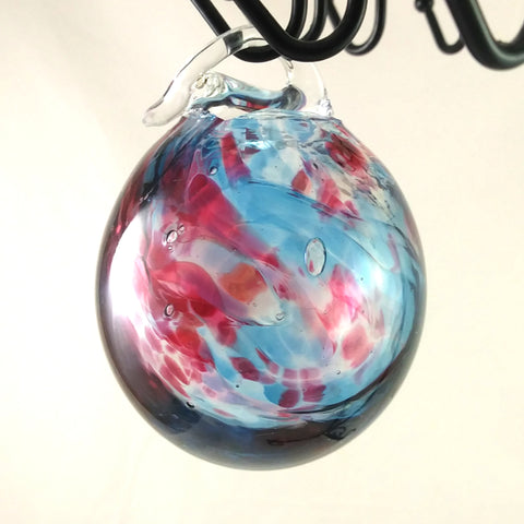 Large Handmade Christmas Ball Ornament / Garden Ball, Blue and Red