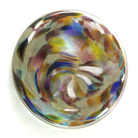 Art Glass Rondel for Stained Glass Work, Multi Color, 3""