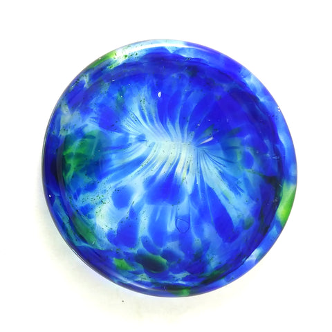 Art Glass Rondel for Stained Glass Work, Blue and Green, 3""