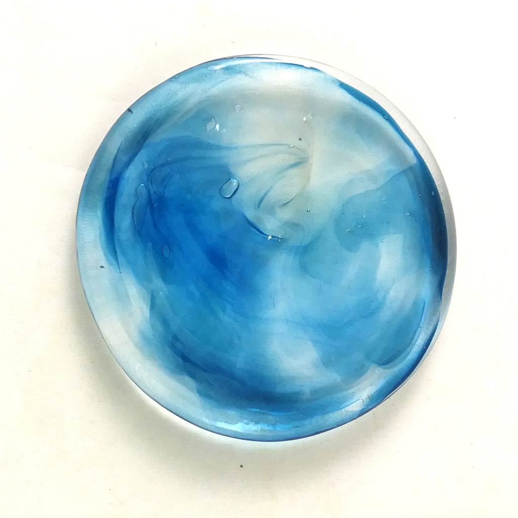 Art Glass Rondel for Stained Glass Work, Light Blue 2.5""