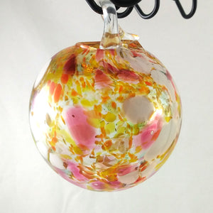 Large Handmade Christmas Ball Ornament / Garden Ball, Orange Pink White Yellow