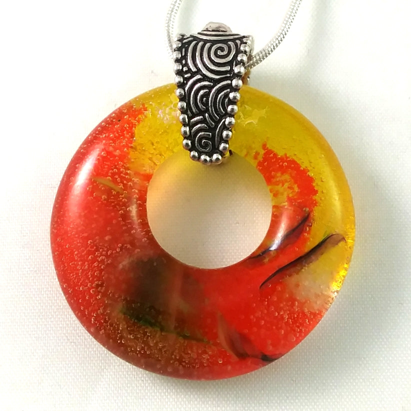 Handmade Art Glass Multi-Color and Dichroic Hoop Jewelry Pendant, Fall Gift, Design By