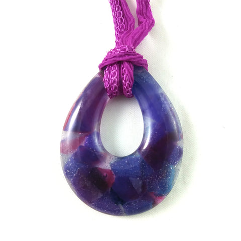 Handmade Teardrop Jewelry Pendant, Purple and Pink