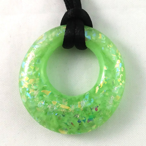 Handmade Glass Hoop Pendant, Green and Rainbow Dichroic, Mother's Day Gift