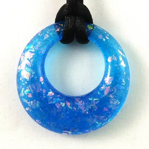 Handmade Glass Hoop Pendant, Blue and Rainbow Dichroic