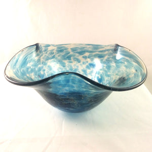 Handmade Art Glass Bowl, Blue and Rainbow Dichroic, Large