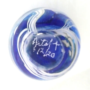 Handmade Art Glass Round Sphere Paperweight, Blue & White, Christmas Gift